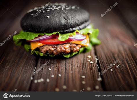 black burger with cheese cheeseburger with black