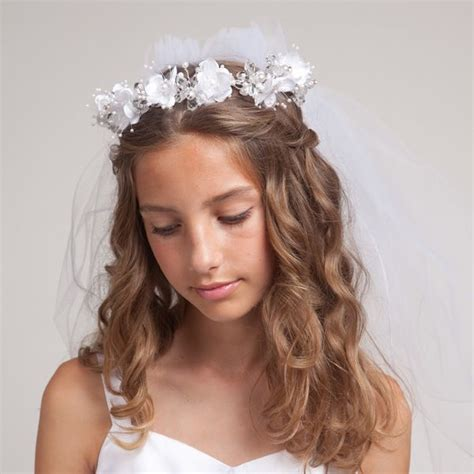 communion hairstyles with headband veil 1000 images about first communion on pinterest halo