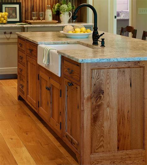 substantial wood kitchen island  apron sink single