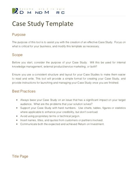 layout of a case study report case study template
