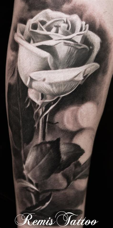 realistic black and grey rose tattoo by remistattoo on
