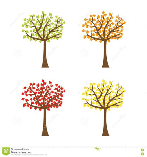 different color trees tree set with different color leaves trunk silhouette