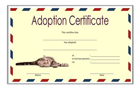 pet adoption certificate template blank adoption certificate template gallery template