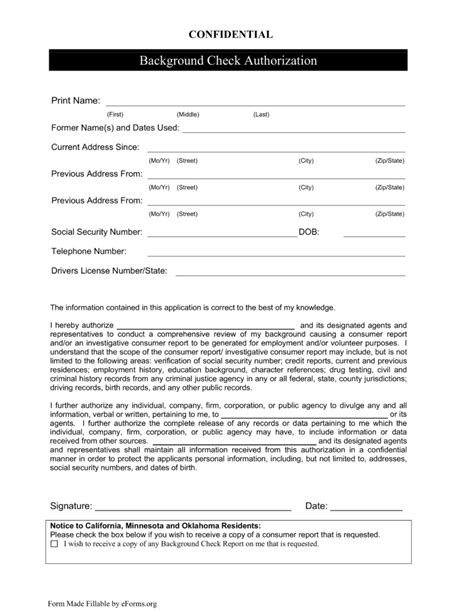 Nationwide Background Check Free Background Check Authorization Form Template