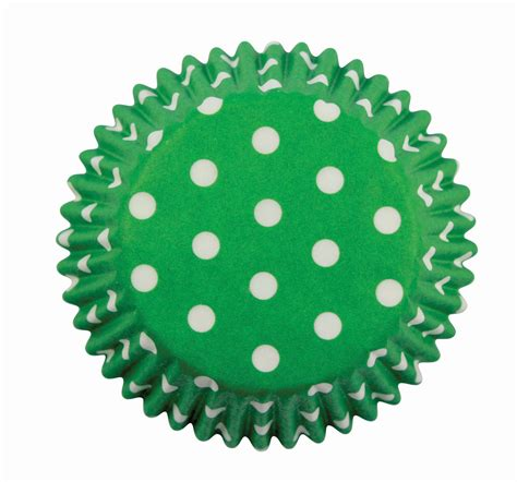 Cake Cases 70mm Base 30mm Bunga design a cake pme patterned cupcake baking cases polka dots green pack of 60