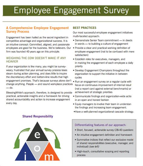 Employee Engagement Report Template Employment Engagement Survey 7 Documents In