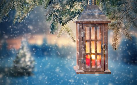 wallpaper lantern twigs snowy christmas  uhd  picture image