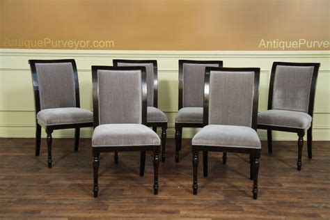 High Quality Dining Chairs 6 High Quality Solid Walnut Dining Chairs Grey Upholstery