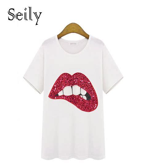 cute pattern t shirts 5xl plus size casual women sequin red lips logo short