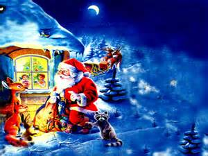 Santa claus with christmas gifts cartoon drawing photo with animals