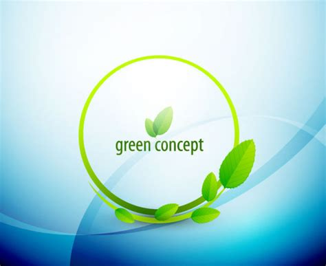 Green Concept Eco Elements Backgorund Vector 03 Over Green It Concept Ppt