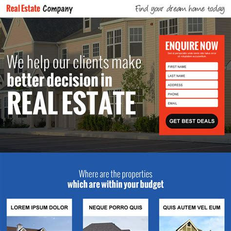 Landing Page Design The Best Real Estate Landing Pages by Real Estate Marketing How To Capture Leads On Your