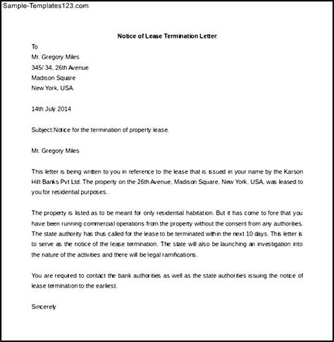 Rent Increase Sle Letter Ireland Sle Lease Termination Letter From Landlord To Tenant Ireland Notice Of Termination By