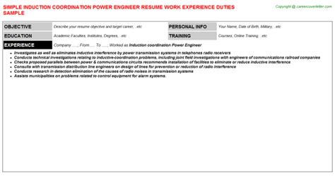 Transmission Line Design Engineer Cover Letter by Induction Coordination Power Engineer Resume Sle