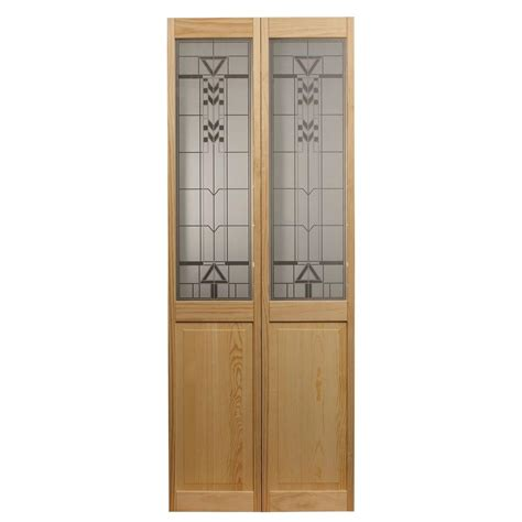 Bi Fold Doors Glass Panels Pinecroft 30 In X 80 In Deco Glass Raised Panel Pine Interior Bi Fold Door 874126 The