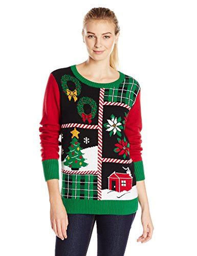 womens light up sweater sweater s patchwork light up crew