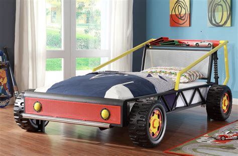 homelegance track twin race car bed in red beyond stores