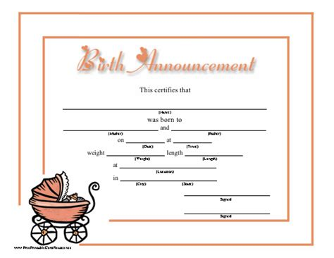 baby doll birth certificate template this birth announcement for a baby has lots of room