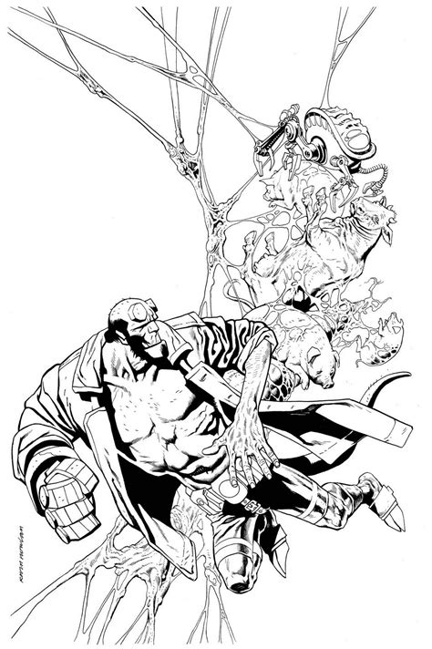 kevin nowlan hellboy cover thumbnail sketch to inks