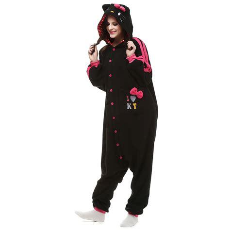 Kt Pj Top So49 Detail Di Pic black kt cat kigurumi costume unisex fleece pajamas onesie