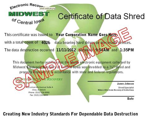 certificate of recycling template mobile electronic shredding midwest electronic recovery