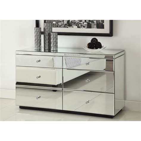 mirrored desk with drawers rio crystal mirrored dressing table 6 drawer dresser chest