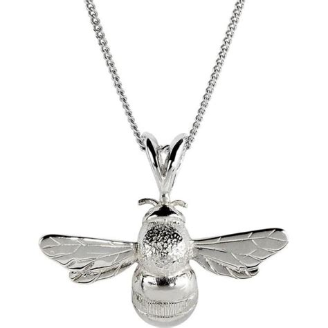 bumble bee silver pendant on adjustable chain