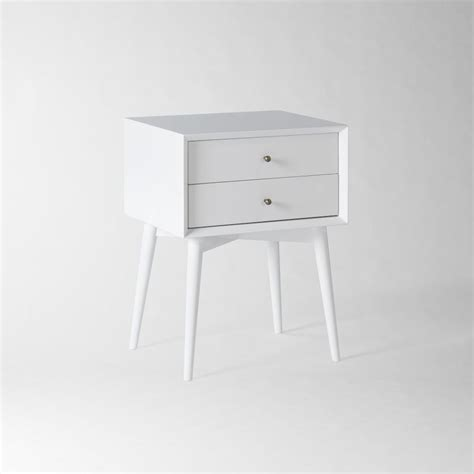 White Bedside Table Mid Century Bedside Table White West Elm Uk