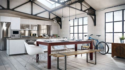Decorating Ideas For Kitchen Area Style Kitchen Dining Area In Loft Interior Design