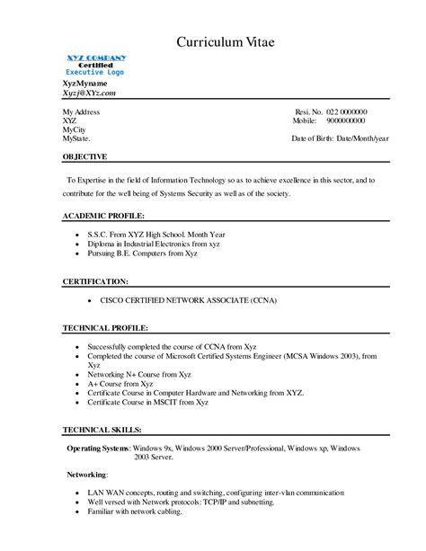 sle cv format for freshers resume format for freshers networking and hardware