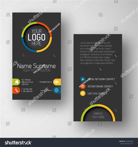 placeholder template modern simple vertical business card stock vector