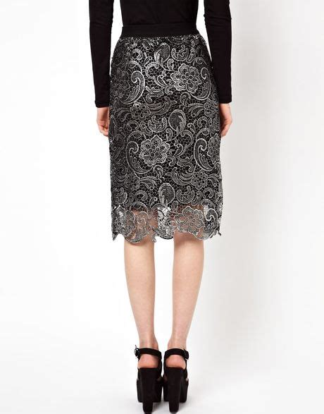 beloved lace pencil skirt in black lyst
