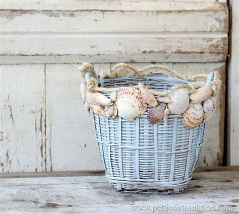 how to decorate with seashells basket craft petticoat seashell home decor sisal seashell decorated basket