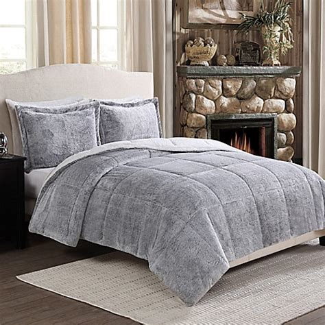 fur bed comforter frosted fur reversible comforter set bed bath beyond