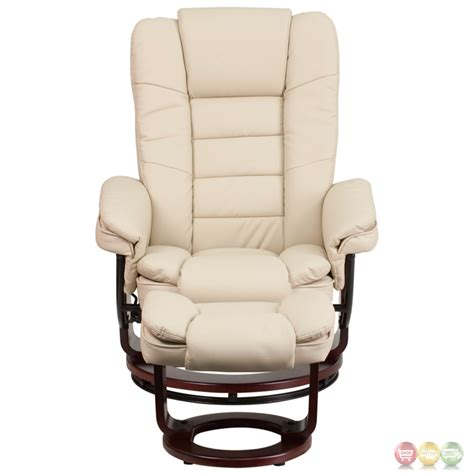 beige leather recliner contemporary beige leather recliner ottoman w swiveling