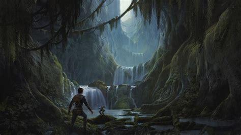 wallpaper star wars jedi fallen order waterfall scenic