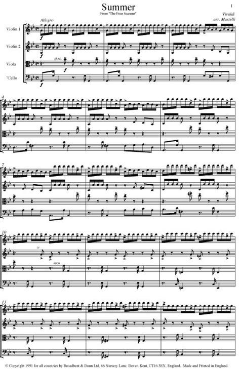 autumn seasons quartet vivaldi summer from the four seasons opus 8 no 2 string quartet parts