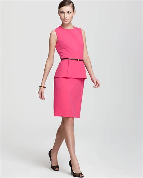 calvin klein peplum dress sleeveless belted in pink