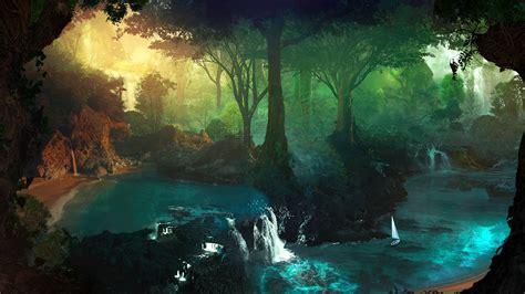 film fantasy welt beautiful forest waterfall stream wallpaper
