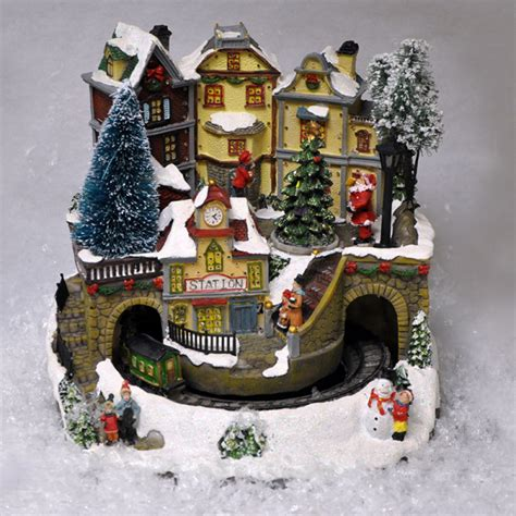 animated christmas village with train with moving led lights sound effects 5013478145055 ebay
