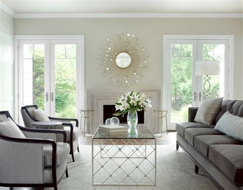impressive starburst mirror in living room traditional