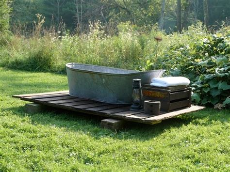 outdoor bathtub two men and a little farm outdoor soaking tub