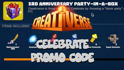 creativerse codes creativerse celebrate promo code youtube