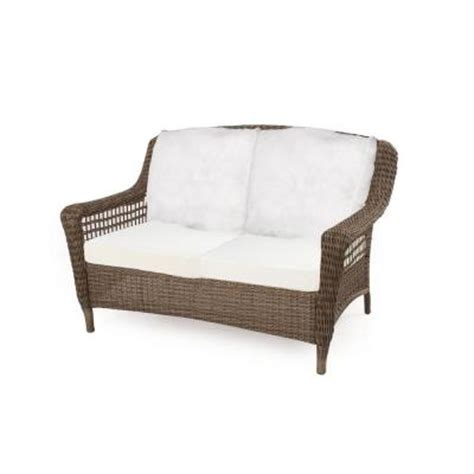 all weather wicker loveseat hton bay spring haven grey all weather wicker patio