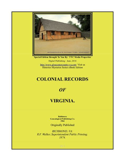 Free Records Virginia Colonial Records Of Virginia Free Ebook