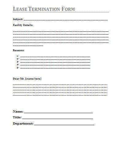 template for termination of lease lease termination form a to z free printable sle