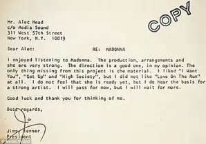 Rejection Letter Before March 2014 Madonna News Updates Mad