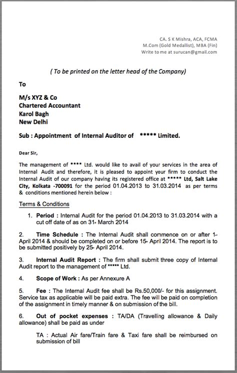appointment letter format of accountant auditor appointment letter to be printed on the