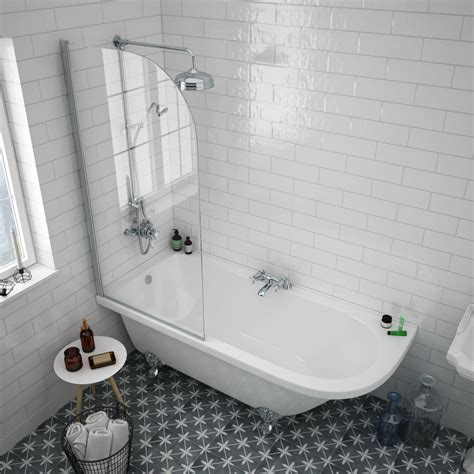 roll top bath shower screen appleby 1700 roll top shower bath with screen chrome leg set plumbing uk