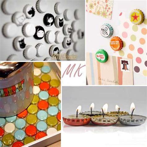 Handmade Crafts Ideas - 10 craft ideas recycling bottle caps for handmade decorations